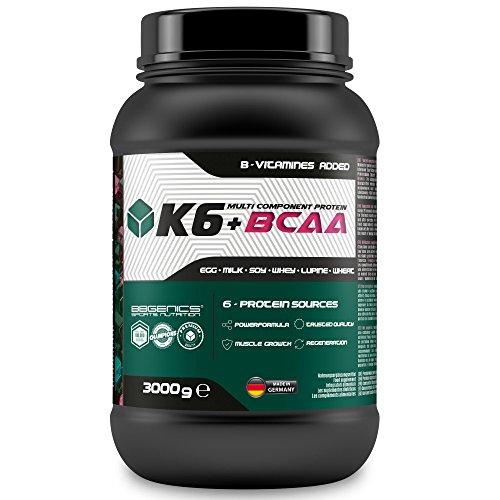 K6 + BCAA Protéines multicomposant, 6 protéines sources de lactosérum (petit-lait) de lait (caséine) œufs, le soja, le blé et la protéine de lupin avec complexe de vitamines B, Active Sportsline by BBGenics, 3000g chocolat