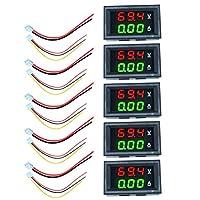 TOYMYTOY 5個10A Ledデジタル直流電圧計電流計デジタルledアンプデュアルデジタル表示電圧計ゲージ車電流モニタテスター赤、緑