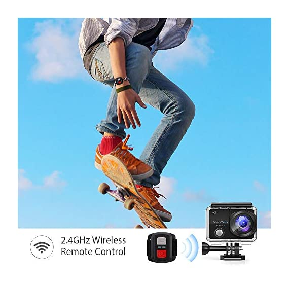 VanTop Moment 3 4K Action Camera w/Gopro Compatible Carrying Case,Remote Control,16MP Sony Sensor,30M Waterproof Camera… 6 【Stunning 4K Technique & Superb Sony Sensor】Optional 4K@30fps, 2.7K@30fps,1080P@60fps,720P@120fps resolutions, high sensitive Sony sensor with improved image focusing, processing speeds. Moment 3 action camera empowers you to capture any memorable moment without any compromise. Stunning 4K video and 16MP photos in Single, Burst and Time Lapse modes. 【Irresistible & Indispensable Accessories】Exclusively customized carrying case for the action camera and accessories: compatible with all Gopro cameras including Gopro HERO 7, Gopro HERO 6. Compact case to keep your action camera-Moment3 and accessories safe, protected and organized. Selected 21 gopro compatible accessories awaits your discovery. (SD Card excluded) 【170°Ultra-Wide Lens & Multiple Modes】Discover a big big world your eyes can reach with the intergraded 170 degrees ultra-wide lens. Burst Shooting, loop recording makes it possible to find the perfect moment afterwards. Time-lapse and slow motion exceed human vision with surprising fun.