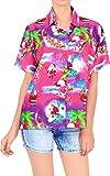 HAPPY BAY Women's Christmas Santa Claus Funny Hawaiian Blouse Shirt Beach Button Down Up XXL Pink_AA98