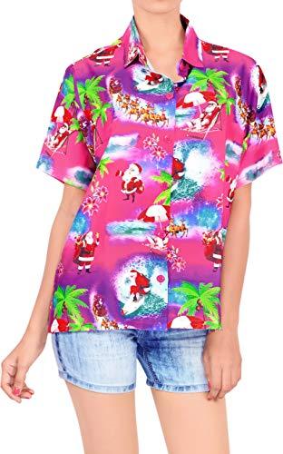 HAPPY BAY Jingle Bells Xmas Print Holiday Party Costume Reindeer Theme Hawaiian Shirt for Women Short Sleeves Button Down Santa Claus Aloha Pink_AA98 M-UK Size:18-20