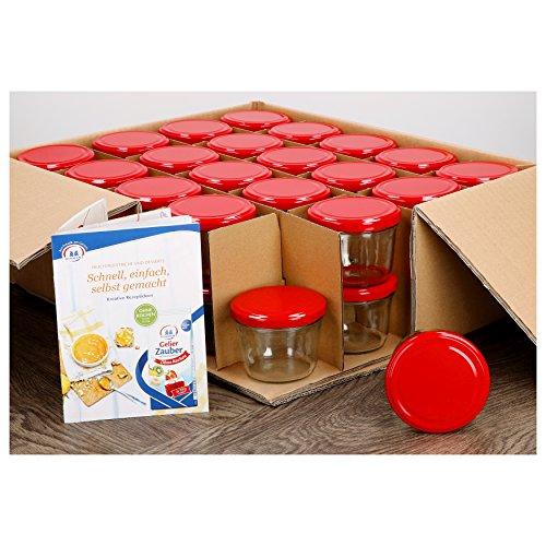 MamboCat 40er Set Sturzglas 230 ml to 82 roter Deckel incl. Diamant Gelierzauber Rezeptheft Marmeladenglas Einmachglas Einweckglas