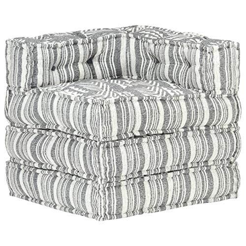 Tidyard Puf Modular Sofá Convertible Sofás de Salón de Tela de Rayas Grises 70 x 70 x 69 cm