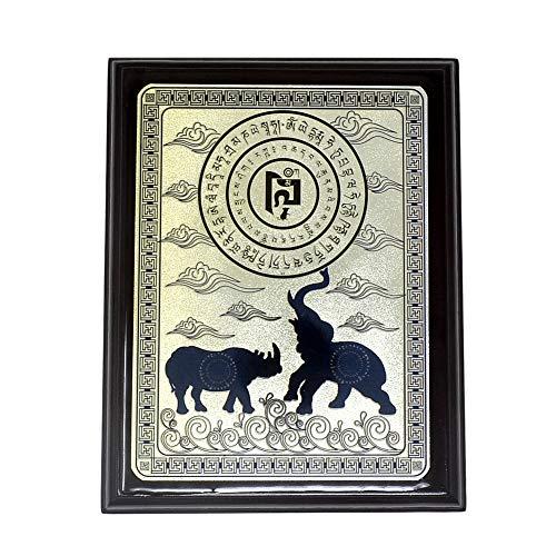 Fengshui Bleu Rhinocéros et éléphant Plaque + Gratuit Mxsabrina Bracelet corde rouge x9028