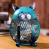 Hucha, Caja de Monedas Gato Hucha, Animal Ornamento Creativo, Hierro Ornamento, Arte de la Decoración de Interiores...