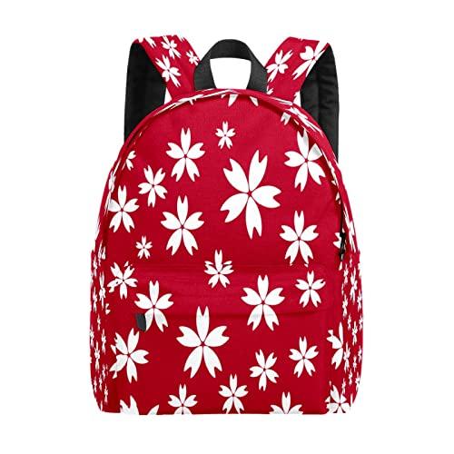 Zaino da donna, semplice, rosso, floreale, 01, casual, per il tempo libero, leggero, da viaggio