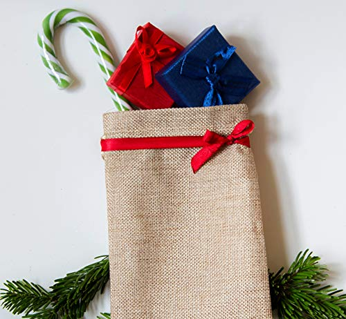 jewellery linen bags for advent calendar jute bags small bags fabric bags for filling ABSOFINE 25 pieces jute bags with drawstring 10 x 15 cm guest gifts and DIY crafts lavender blossom