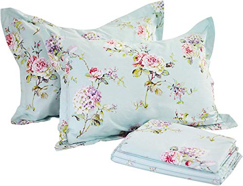 FADFAY Dorm Bedding Sheet Set Twin XL Summer Bedding Rose and Hydrangea Dorm Bedding 100% Cotton Hypoallergenic Blue Stripe Deep Pocket Fitted Sheet 4-Pieces Twin XL for College Room