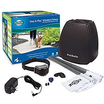 PetSafe Stay & Play Wireless Fence with Replaceable Battery Collar – Covers up to 3/4 Acre – For Dogs & Cats over 5 lb – Waterproof Collar with Tone & Static – From Parent Company of INVISIBLE FENCE