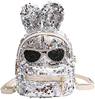 WTYD Double Shoulder Bag Sequins Shoulder Bag Student Children School Bag(Black) (Color : Silver)