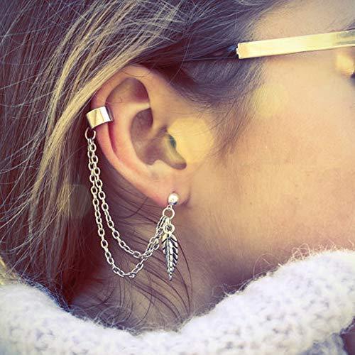 Deniferymakeup - Orecchini a perno con catena e foglia, in argento e oro, stile vintage, minimalista, orecchini a clip da donna e ragazza