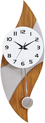 Wall Clock Battery Operated Non Ticking Decorative Living Room Decor Wood Large Silent Bedroom Mute Pendulum