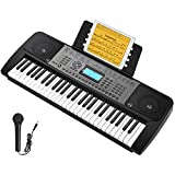 Donner DEK-510 54 Keys Electronic Keyboard Portable Electric Music Piano with Full-Size Keys for Kids Beginners, Include a Music Stand and Microphone