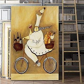 ganlanshu Pintura sin Marco Lienzo de Chef de Dibujos Animados con póster de Bicicleta Decoración para el hogar de la habitación de los niñosCGQ8770 50X75cm