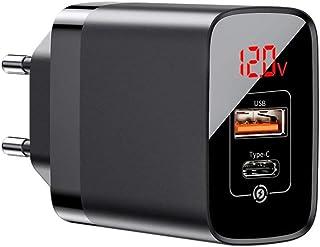 Fonte Carregador 18w Dual USB-C + USB Ultra Rápido Baseus Compatível Com IPhone X 11 12 e Android