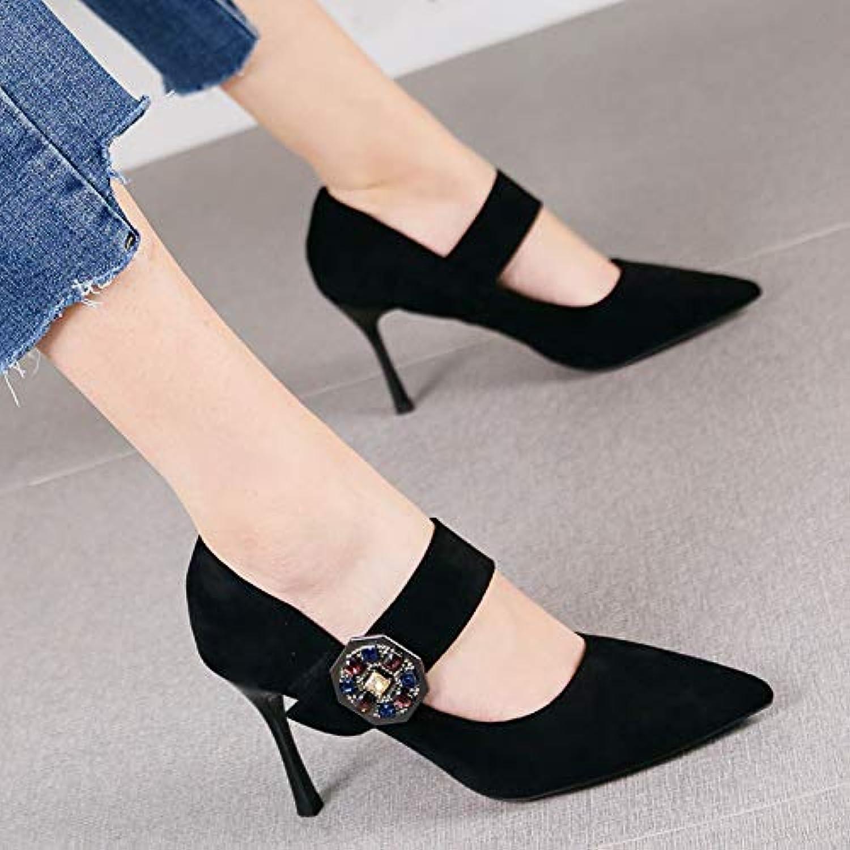 HRCxue Pumps Mode Schwarze dünne Klettverschluss flachen Mund einzelne Schuhe Temperament Strass Spitze Stiletto Heels Frauen, 34, schwarz  | Feinbearbeitung  | Neues Produkt  | Spaß