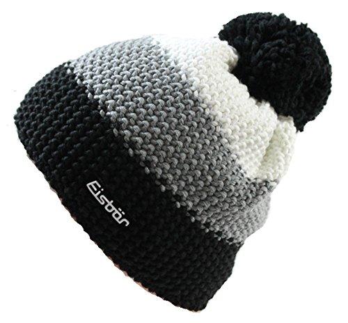 Eisbär Mütze - Star Pompon, schwarz/grau/weiss (609), one size