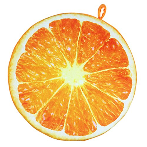 Vococal® Fruit Ronde Chaise de Bureau Retour Coussin de Soutien Canapé Coussin d'orange
