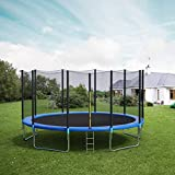 CalmMax Trampolines 12FT Jump Trampoline, ASTM Approved, with Enclosure Net, Spring Pad, Ladder - Combo Bounce Outdoor Trampoline for Kids, Adults Family Happy Time (12FT)