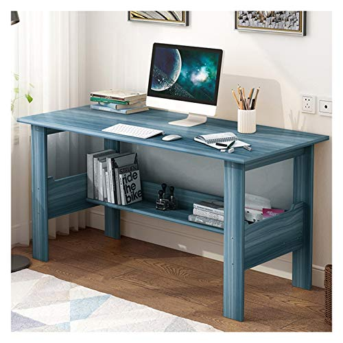 Computer Desk Study Writing Table for Home Office, The Nordic Simple Style Wooden Rustic Desk,Bright Blue Wood Grain Color (Blue)