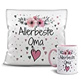 Print Royal Geschenk-Set aus Tasse und Kissen mit Füllung - Allerbeste Oma - Persönliche Geschenkidee für Beste Freunde, Verwandte und Familie - weiß/rosa
