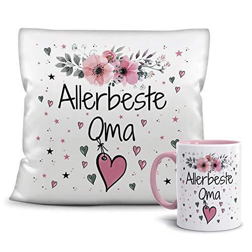 PR Print Royal Geschenk-Set aus Tasse und Kissen mit Füllung - Allerbeste Oma - Persönliche Geschenkidee für Beste Freunde, Verwandte und Familie - weiß/rosa