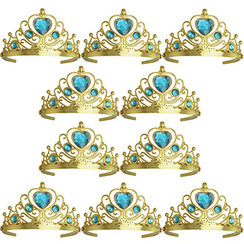 XiangGuanQianYing Tiaras and Crowns for Little Girls Crowns and Tiaras for Child from 3 Years Up Party Favors Sky Blue Tiara Plastic Gold Tiara(10 Pack)