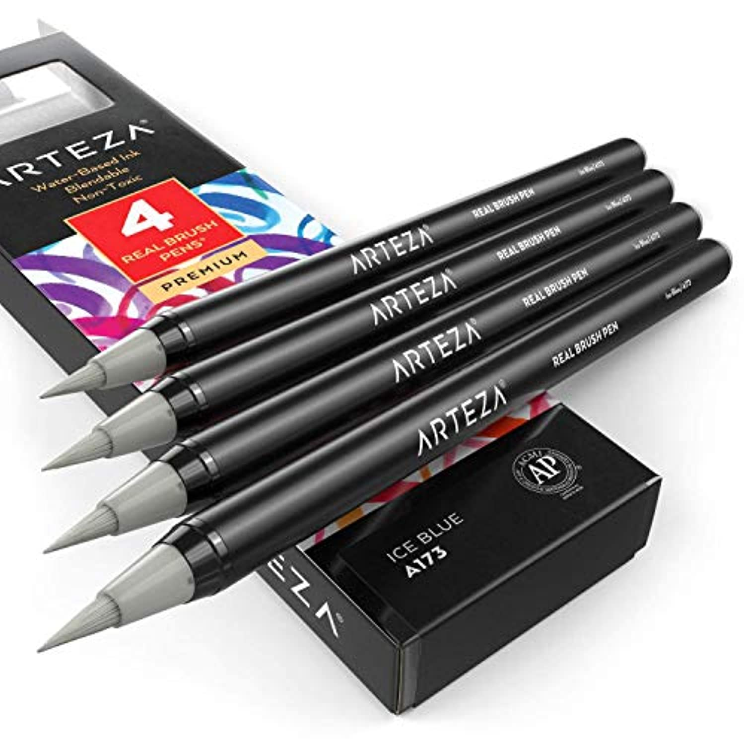 Arteza Real Brush Pens (A173 Ice Blue), Pack of 4, for Watercolor Painting with Flexible Nylon Brush Tips, Paint Markers for Coloring, Calligraphy and Drawing