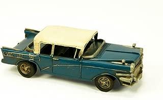 """Figura Decorativa de Metal """"Coche Antiguo Azul"""". Vehículos. Adornos y Esculturas. Coleccionismo. 25 x 10 x 7 cm."""