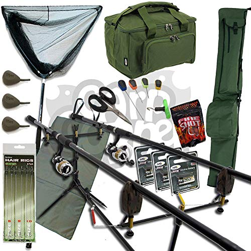 NGT Complete Carp Fishing Set Up 2 Rods Reels With Carryall Rod Holdall and Tackle RRP 19999