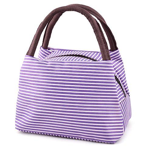 sourcing map En plein air pique-nique lin et coton à rayures Motif déjeuner Service stockage Glacière sac pochette fourre-tout violet