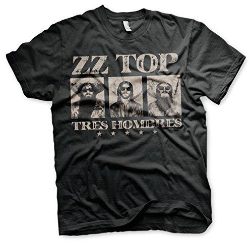 ZZ-Top Oficialmente Licenciado Tres Hombres Camiseta para Hombre (Negro)