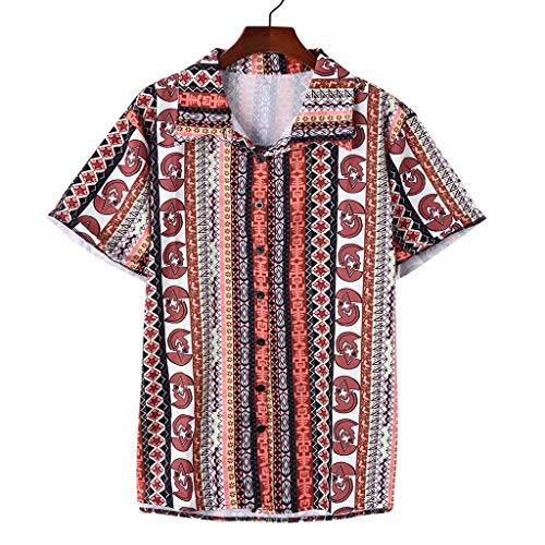 Xmiral Shirt Herren Gedruckte Kurzarm Umlegekragen Hemden Strandkleidung Tops Mehrfarbig Hemden Poloshirt Polohemd Tanktop Kurzarmshirt(C Rot,M)