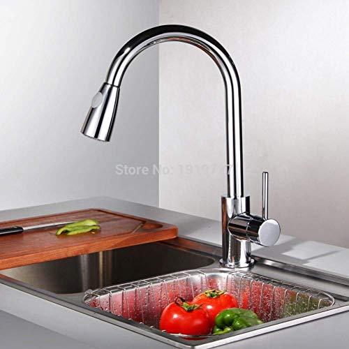 Moderne, uittrekbare keukenkraan met uittrekbare handdouche voor barspoelbak, glanzend chroom