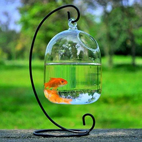 SHINA 創意的 ハンギング式 金魚鉢 植木鉢 ミニ水族館 吊り下げ (金魚鉢+黒ホルダー)