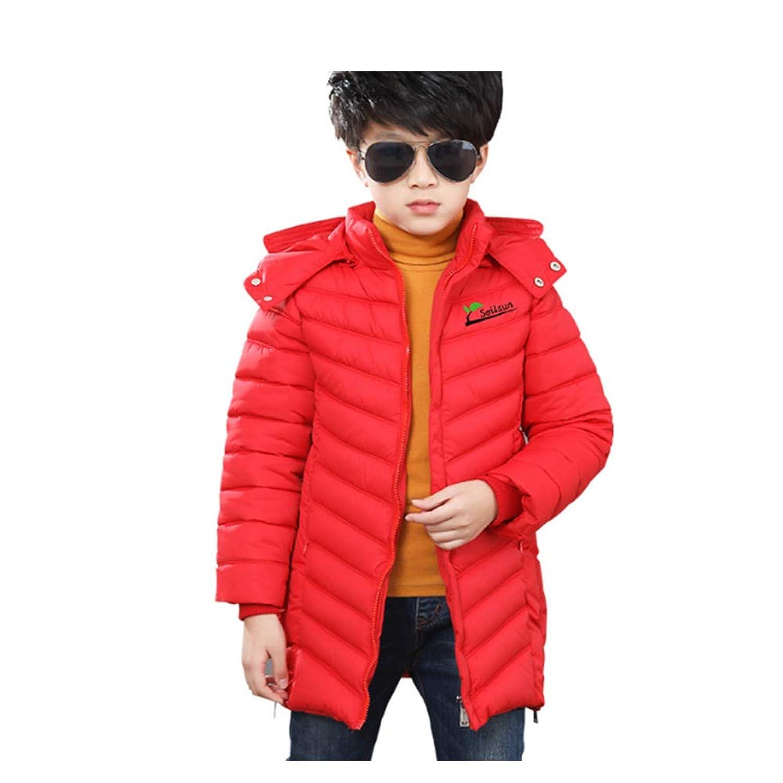 (マンモス) キッズ 男の子 秋冬 軽量 ロング丈 フード付き 厚手 中綿コート アウター シャケット