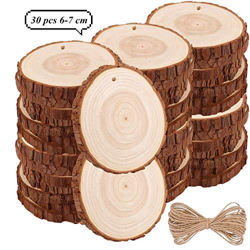 TICIOSH plasterki drewna 6-7 cm Naturalne drewno plasterki wiercone otwory niedokończone drewniane koła do samodzielnego wykonania rękodzieło dekoracje ślubne ozdoby świąteczne (30 szt. 6-7 cm)