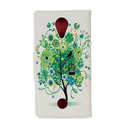 leiai Wiko Tommy Hülle,Grüner Baum Handschlaufe Leder Flip Wallet Cover Etui in Book Style Stand Hülle Card Slot Leder Tasche Hülle Karteneinschub Dreckunempfindliches in für Wiko Tommy