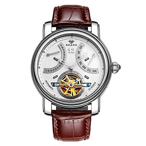 QHG Moda Tourbillon Relojes Hombres Relojes de Pulsera de Oro Relojes mecánicos automáticos de Lujo (Color : C)