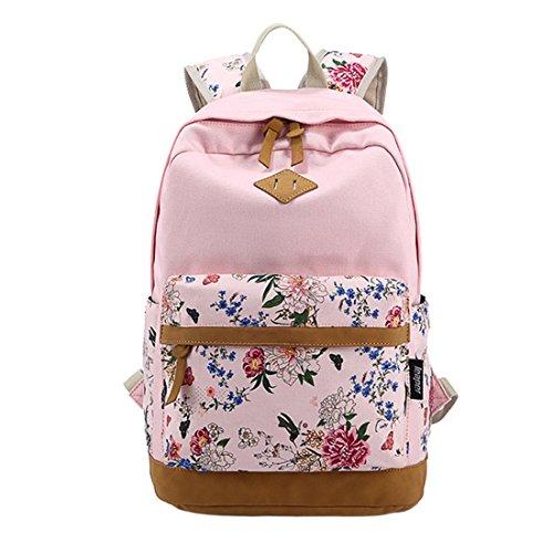 Printing Canvas zaino iTECHOR Fashion fiori-motivo casuale per portatile-spalla-sacchetto Rosa rosa