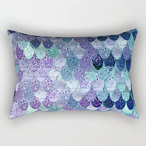 Yuanmeiju Summer Mermaid Purple Mint Rectangular Pillowcase Cushion Cover 20x30 Inch