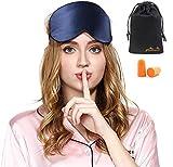 Viedouce Schlafmaske Seide Augenmaske,100% Hautfreundlich Seide Schlafmaske Frauen und Herren, Angenehme Schlafmaske Ideal für Schlaf zu Hause und Auf Reisen(Blau, 1 pack)