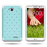 CoverON Hybrid Dual Layer Diamond Case for LG Optimus L70 Exceed 2 Realm Pulse Ultimate 2 L41C Teal Hard Bling Plastic + White Soft Silicone