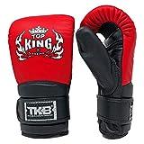 Top King Bag Gloves Boxing Muay Thai MMA UFC Martial Arts Bag Mitts (Black/Red/Black, M)