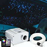 AZIMOM Bluetooth 10W Twinkle RGBW LED Fiber Optic Star Ceiling Light Kit with Sensory Music Mode APP Remote Control for Indoor Car Interior Decoration Mixed 460pcs 9.8ft