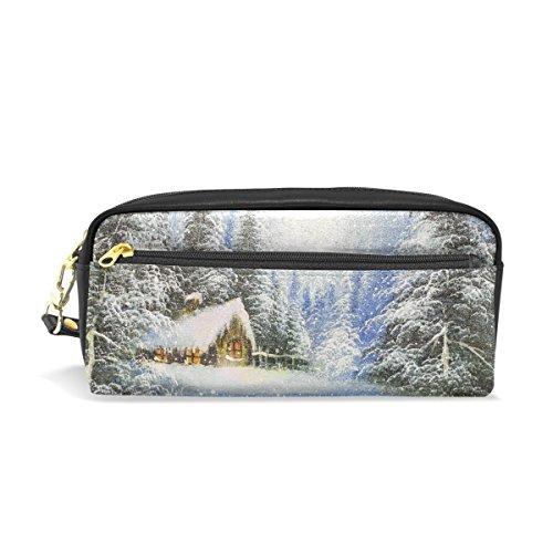 mydaily Winter Landschaft Gemälde Weihnachten Federmäppchen Pen Tasche Münzfach Kosmetik Make-up-Tasche