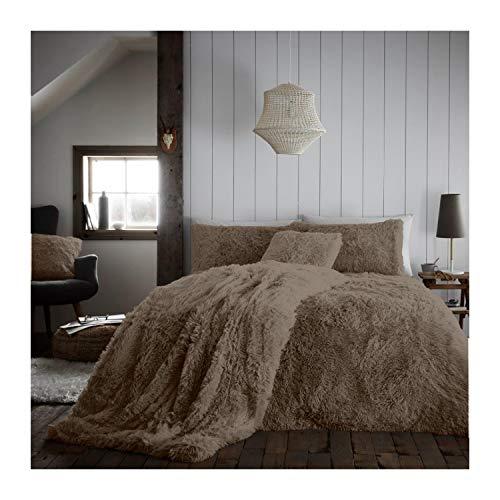 Lions Teddy Fleece Duvet Cover Set with Pillow Case, Hug Snug Shaggy Quilt Bedding, Warm and Cosy, Super Soft, Mink, King Size, 230x220cm