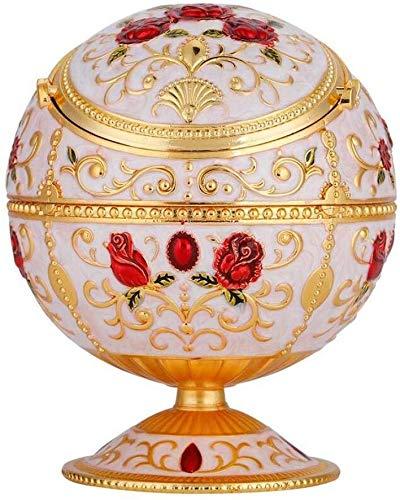 AMITD Globus Form tragbare Mini Aschenbecher Metall Runde Kugel gestempelt Muster Freund Geschenk für Home Room Desk Dekoration