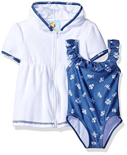 Baby Buns Girls' Denim Terry Flower Cover Up Swim Set, Multi, 18M