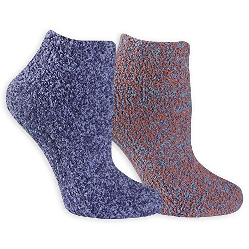Dr. Scholl's Women's 2 Pack Soothing Spa Low Cut Lavender + Vitamin E Socks with Silicone Treads, Blue, Shoe Size: 4-10